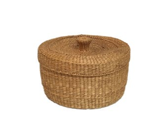 Twined Tribal Basket with Cover