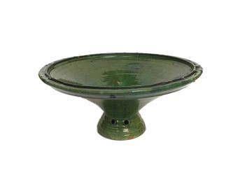 Green Glazed Stoneware Footed Bowl