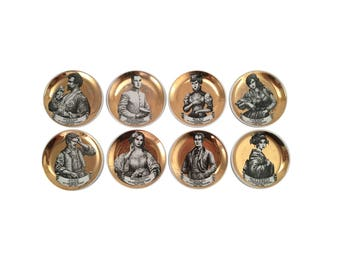 "Set of Eight Piero Fornasetti ""Melodramma"" Coasters"