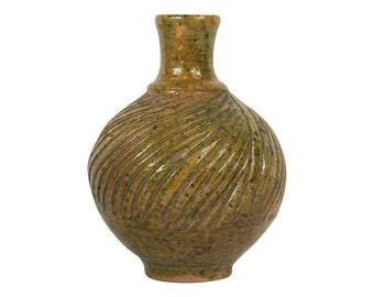 Antique Yellow Green Pottery Vase