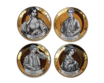 "Set of Four ""Melodramma"" Gilt Porcelain Coasters by Piero Fornasetti"