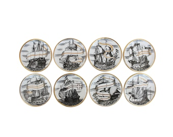 """Complete Set of Eight """"Valieri"""" Porcelain Coasters by Piero Fornasetti"""