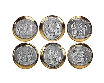 """Set of Six """"Cammei"""" Gilt Porcelain Coasters by Piero Fornasetti"""