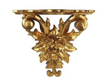 Italian Rococo Style Carved Floral Gilt Wood Wall Bracket