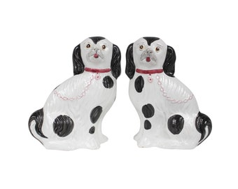 Hand Painted Pair of Large Stffordshire Style Dogs.