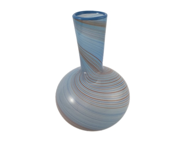 Dansk Blue And Brown Swirl Glass Vase Etsy