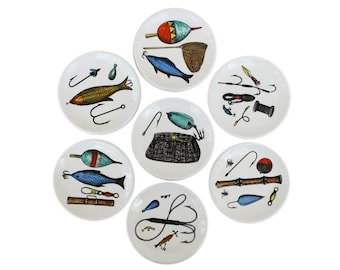 Set of Seven Fishing Coasters by Fornasetti for Bucciarelli