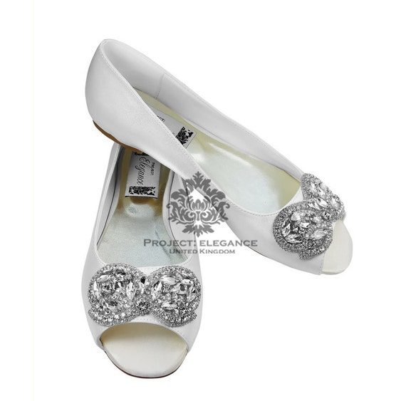 b1acb2d63081 Wedding flat Peep toe Ivory  white bridal Ballerina Flat Shoes