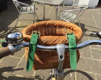 Green bicycle basket straps (pair)