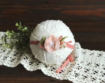 Coral Blush Knit Tieback, Newborn Tieback, Newborn Headband, Toddler Headband, Newborn Prop, Newborn Girl, Baby Girl,  Newborn Photo Prop
