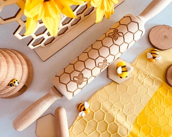 HONEYCOMB & BEES – Embossing wooden rolling pin
