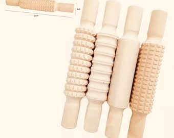 Natural PATTERED Wooden Rolling Pin
