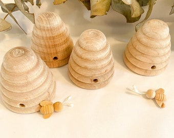 Mini Wooden Bee and Bee Hive Set