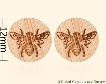 Wooden Bee Earrings | Studs | Teachers Gifts