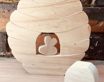 Natural Bee Hive Wooden Stacker