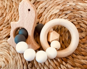 Natural DINOSAUR Beech Wood Teethers with Silicone Beads