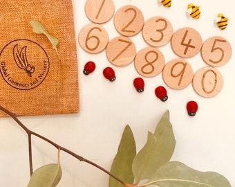 Number Wooden Tile Discs 3.5x3.5cm