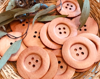 Buttons- Light Brown Large Wooden set of 5