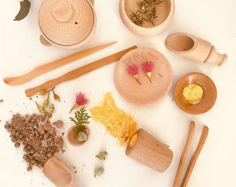 Potion Tool Kits   Wooden Accessories   Natural Toys   Scoop Playset   13 pieces