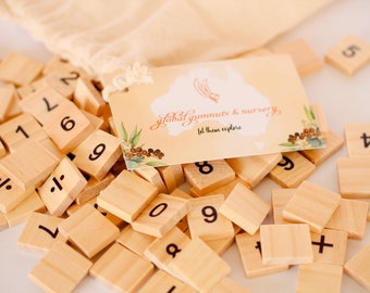 100 pieces - Wooden Number Tiles - Number Learning Tools