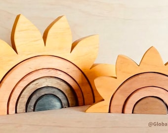 Natural Wooden Sunflower Rainbow Stacker | SMALL