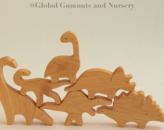 Wooden Dinosaurs, Set of 6