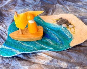 Felt Sail Wooden Boat