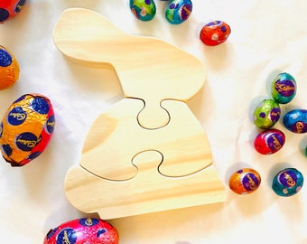 Wooden Bunny Rabbit Puzzle Decor| Easter | Handmade