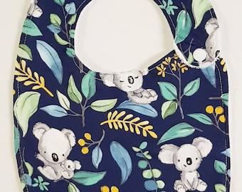 Navy Koalas- Handmade Luxury Quality Bib