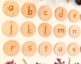 Lowercase Letter Wooden Tile Discs 3.5x3.5cm | Wooden Discs