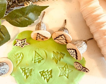 Gumnut Christmas TREE Stamps | Nature Stamps | 4 pieces