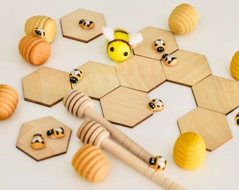 Discs ~ Wooden Hexagonal Tiles | Honeycomb Shapes 5 x 5cm