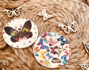 Butterfly Buttons- Large Wooden