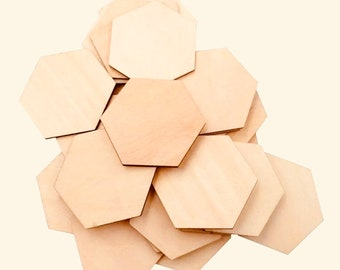 Discs ~ Wooden Hexagonal Tiles | Honeycomb Shapes 7 x 7cm
