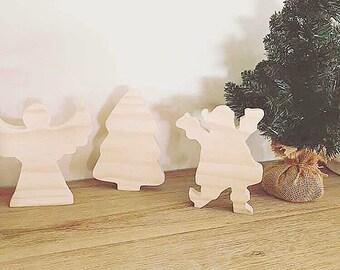 Natural Wooden Christmas Set | Angel | Christmas Tree | Santa