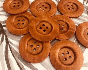 Buttons- Dark Brown Large Wooden set of 5