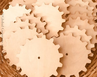 Discs ~ Wooden Cog Tiles | Gear Shapes 10cm