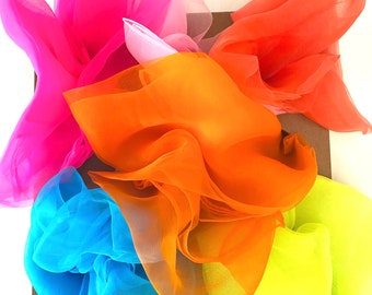 Bright Sensory Scarves | Play Silks | 6 Colour Set