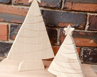 LARGE Natural Christmas Tree Wooden Stacker | 31cm