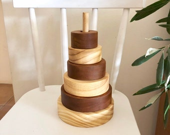 Natural Stripe Wooden Stacker with Stain