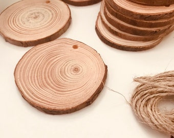 Wood Slices with drilled hole