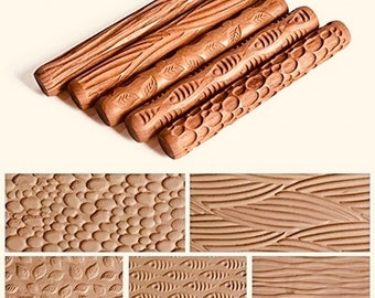 Detailed PATTERED Wooden Rolling Pin