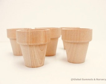 Natural Mini Wooden Flower Pots