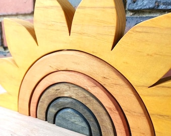 Natural Wooden Sunflower Rainbow Stacker | LARGE