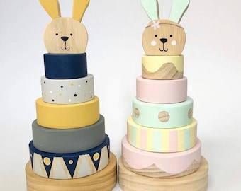 Bunny Wooden Stacker   Easter   Handmade