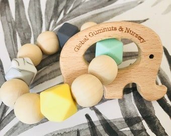 Elephant Teethers with Silicone & Wooden Beads