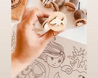 Seashells & Friends | Gumnuts Nature Stamp Set | 7 pieces
