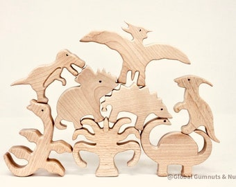 Wooden Dinosaurs, Set of 10 Prehistoric Animals | Wooden Montessori | Scandi style