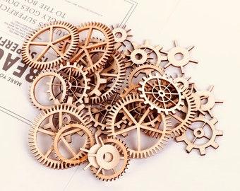 Discs ~ Wooden Cog Tiles | Gear Shapes | 30 pieces