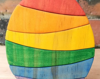 Rainbow Egg Wooden Stacker